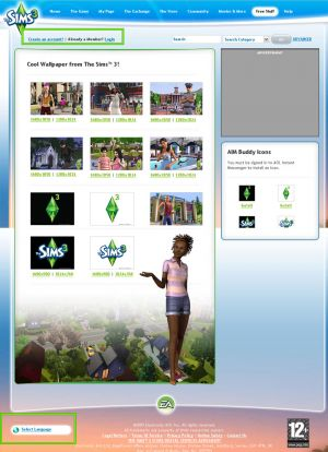 a page of the new the sims 3 site